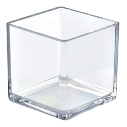 Azar Displays Cube Display Bins, Small Size, Clear, Pack Of 4
