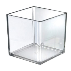 """Azar Displays Deluxe Cube Bins, 7""""H x 7""""W x 7""""D, Clear, Pack Of 4 Bins"""