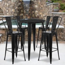 """Flash Furniture Commercial-Grade Round Metal Bar Table Set With 4 Café Stools, 41"""" x 30"""", Black"""