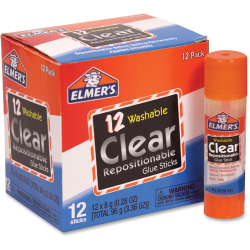 Elmer's Clear Repositionable Glue Sticks - 0.28 oz - 12 / Box - Clear