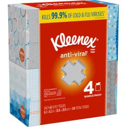 Kleenex Anti-Viral Facial Tissues - 3 Ply - White - Anti-viral, Soft - For Home, Office, School - 60 Quantity Per Box - 32 / Carton