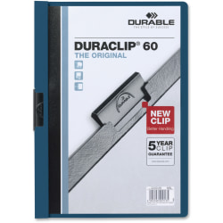 "Durable Duraclip® 60 Report Covers, 8 1/2"" x 11"", Dark Blue"
