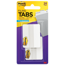 "Post-it® Notes Durable Filing Tabs, 2"", White, Pack Of 24 Tabs"