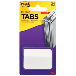"""Post-it® Durable Index Tabs, 2"""" x 1 1/2"""", Angled, White, Pack Of 24 Flags"""
