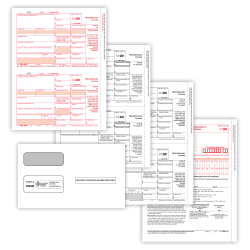 """ComplyRight 1099-MISC Tax Forms, 5-Part, 2-Up, Copies A/B/C, Laser, 8-1/2"""" x 11"""", Pack Of 100 Forms And Envelopes"""
