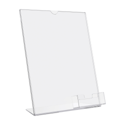 """Deflecto® Superior Image® Slanted Sign Holder With Business Card Holder, 11 1/4""""H x 9""""W x 4 1/2""""D, Clear"""