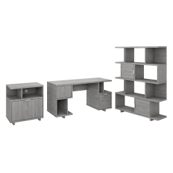"""kathy ireland® Home by Bush Furniture Madison Avenue 60""""W Computer Desk With Lateral File Cabinet And Bookcase, Modern Gray, Standard Delivery"""