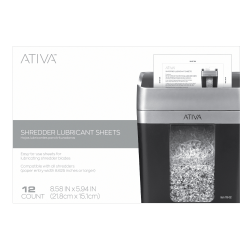 Ativa™ Shredder Lubricant Sheets, Pack Of 12 Sheets
