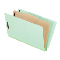 """Pendaflex® Pressboard Classification Folders With Dividers, 8 1/2"""" x 14"""", 1 Divider, 1 Partition, Light Green, Pack Of 10"""