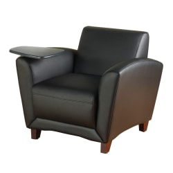 Lorell® Accession Bonded Leather Reception Chair With Tablet Arm, Black