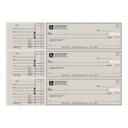 """Custom 3-To-A-Page Checks, Style 2, 8 1/4"""" x 3 1/24"""", 1 Part, Box Of 300"""
