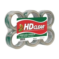 "Duck® HD Clear™ Heavy-Duty Packaging Tape, 3"" Core, 1.88"" x 54.6 yd., Clear, Pack Of 6"