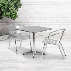 "Flash Furniture Square Aluminum Indoor/Outdoor Table Set With 2 Slat-Back Chairs, 27-1/2""H x 27-1/2""W x 27-1/2""D, Aluminum"