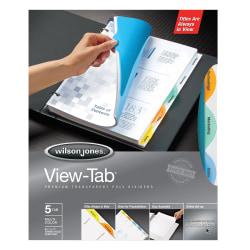 Wilson Jones® View-Tab® Transparent Dividers, 5-Tab, Round, Multicolor