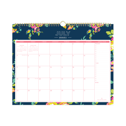 "Blue Sky™ Day Designer Monthly Wall Calendar, 12"" x 15"", Peyton Navy, July 2021 To June 2022, 107934"