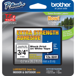 "Brother® TZe-S241 Extra-Strength Black-On-White Tape, 0.75"" x 26.2'"