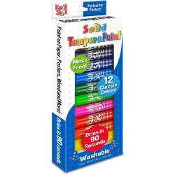The Pencil Grip Kwik Stix 12-color Solid Tempera Paint - 12 / Set - Red, Black, Blue, Yellow, Brown, Green