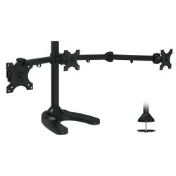 """Mount-It MI-789 Triple Monitor Stand For 13 - 24"""" Monitors, 29""""H x 54""""W x 5-13/16""""D, Black"""
