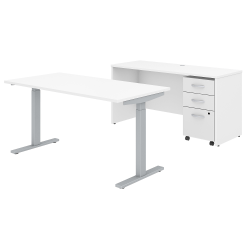 """Bush Business Furniture Studio C 60""""W x 30""""D Height Adjustable Standing Desk, Credenza and One Mobile File Cabinet, White, Standard Delivery"""