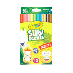 Crayola® Silly Scents Washable Markers, Conical Tip, Assorted Ink Colors, Pack Of 10 Markers