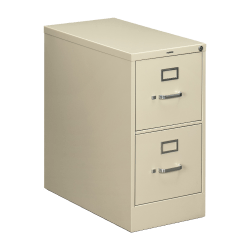 """HON® 210 28-1/2""""D Vertical 2-Drawer Letter-Size File Cabinet, Metal, Putty"""