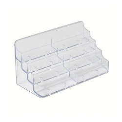 Azar Displays 4-Tier Acrylic Business/Gift Card Holders, Clear, Pack Of 2 Card Holders