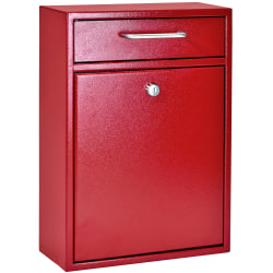 "Mail Boss Locking Security Drop Box, 16-1/4""H x 11-1/4""W x 4-3/4""D, Bright Red"