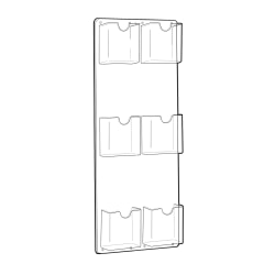 """Azar Displays 6-Pocket Vertical Trifold Wall-Mount Brochure Holders, 24""""H x 9-1/4""""W x 1-3/4""""D, Clear, Pack Of 2 Holders"""