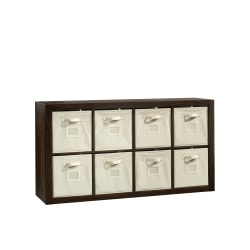 "Sauder® Stow-Away 8-Cube Organizer With Fabric Bins, 57-7/8""H x 30-7/8""W x 15-3/8""D, Smoked Oak"