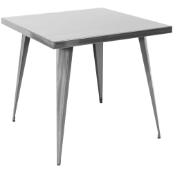 Lumisource Austin Industrial Dining Table, Square, Brushed Silver