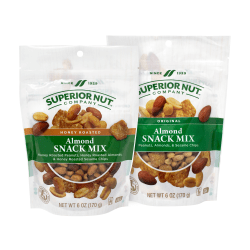 Superior Nut Original And Honey Roasted Almond Snack Mix, 6 Oz, Pack Of 6 Bags