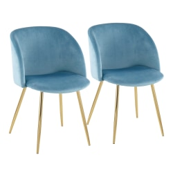 LumiSource Fran Dining Chairs, Gold/Light Blue, Set Of 2 Chairs