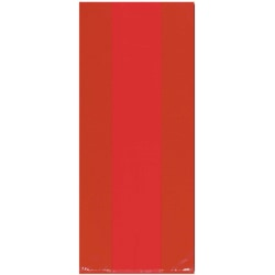 """Amscan Large Plastic Treat Bags, 11-1/2""""H x 5""""W x 3-1/4""""D, Apple Red, Pack Of 100 Bags"""