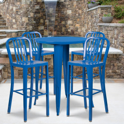 "Flash Furniture Commercial-Grade 30"" Round Metal Indoor-Outdoor Bar Table with 4 Vertical-Slat-Back Stools, Blue"