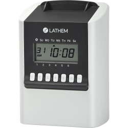 "Lathem Calculating Electronic Time Clock, 100 Employees, 6-15/16""H x 5-1/4""W x 9-5/8""D, Gray, 700E"