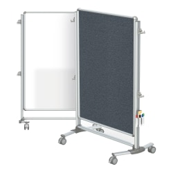 """Ghent Nexus Jr. Partition Double-Sided Mobile Magnetic Whiteboard And Bulletin Board, 46 1/4"""" x 34 1/4"""", Gray Fabric/Silver Aluminum Frame"""