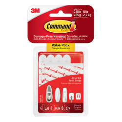 3M™ Command™ Replacement Mounting Strips, Assorted Sizes, White, Pack Of 8