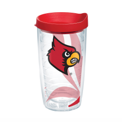 Tervis Genuine NCAA Tumbler With Lid, Louisville Cardinals, 16 Oz, Clear
