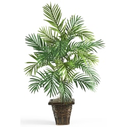 "Nearly Natural 38""H Silk Areca Palm Plant With Wicker Basket, Green"