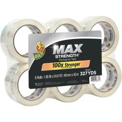 """Duck Brand Brand Max Strength Packaging Tape - 54.60 yd Length x 1.88"""" Width - 3.1 mil Thickness - 6 / Pack - Clear"""