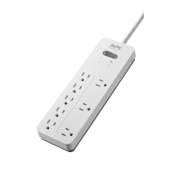 APC® Home Office SurgeArrest 8-Outlet Surge Protector, 6' Cord, White, PH8W
