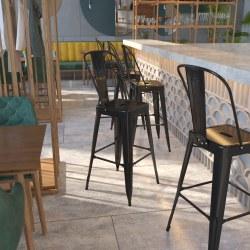 Flash Furniture Commercial-Grade High-Back Bar Stool, Black