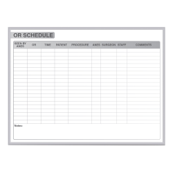 "Ghent OR Schedule Magnetic Dry-Erase Whiteboard, 48"" x 60"", Silver Aluminum Frame"