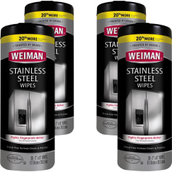 "Weiman Stainless Steel Wipes - Wipe - 7"" Width x 8"" Length - 30 / Canister - 4 / Carton - White"