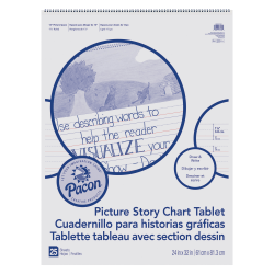 "Pacon Ruled Picture Story Chart Tablet - 25 Sheets - Spiral Bound - Both Side Ruling Surface - Ruled - 1.50"" Ruled - 13.63"" Picture Story Space - 24"" x 32"" - White Paper - Punched - 25 / Each"