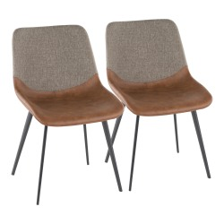 LumiSource Outlaw 2-Tone Chairs, Espresso/Brown, Set Of 2 Chairs