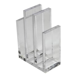 """Azar Displays Acrylic File Sorter Bookends, 8-3/8""""H x 5-3/4""""W x 3""""D, Clear, Pack Of 2 Bookends"""