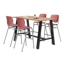 KFI Studios Midtown Table With 4 Stacking Chairs, Kensington Maple/Coral Orange