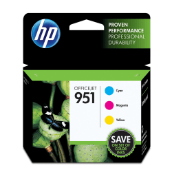 HP 951 Cyan/Magenta/Yellow Original Ink Cartridges (CR314FN), Pack Of 3 Cartridges