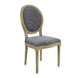 Linon Spencer Oval-Back Dining Chairs, Dark Natural Brown/Charcoal, Set Of 2 Chairs